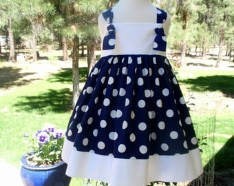 Girls Navy Blue & White Polka Dot Dress - Beach Dress - Nautical Dress - Baby Girl Toddler Blue and White Polka Dot Dress - Girls Navy Dress
