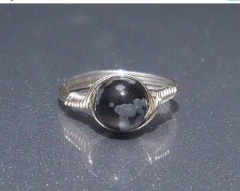 25% Off Sale LG Snowflake Obsidian Ring, Stone Ring, Argentium Sterling Silver Ring, Wire Wrapped Ring, Custom Sized Ring