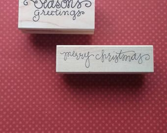 Set of Two - Merry Christmas and Seasons Greetings Stamps