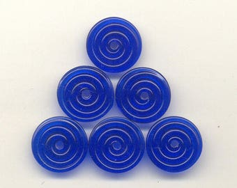 16 & 17mm range, Tom's lampwork transparent cobalt blue 2 disc spacer/drop/clasps, 1 pair 96490-1