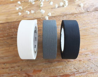 Solid Color Japanese Washi Masking Tapes / Matt Black, Matt White and Matt Gray at your choice for journaling, packaging, stamping