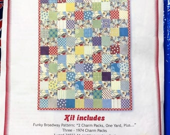1974 Funky Broadway Quilt kit - fabric by Urban Chicks for Moda and pattern by Fat Quarter Shop OOP HTF
