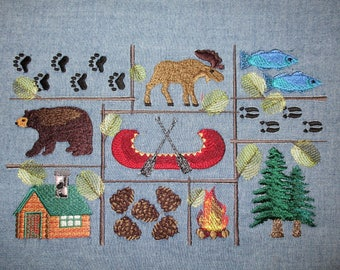 Northwoods Embroidered Large Fabric Block