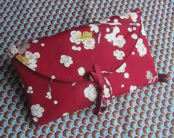 "Put checkbook Japanese fabric ""sakura"" double Burgundy plum leatherette"