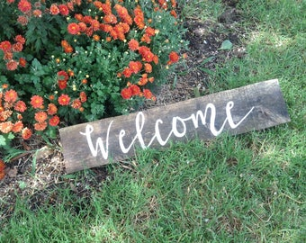 Rustic Salvaged Wood Wedding Welcome Modern Cursive Table Sign Ready to Ship
