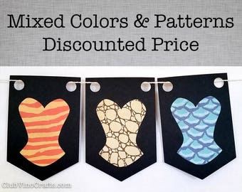 Animal Print Corset Banner - Mixed Prints and Colors - Price Per Pennant