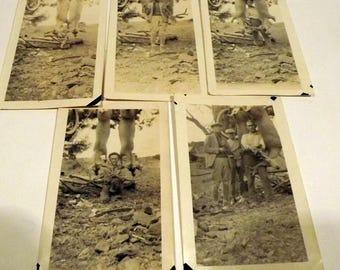 Hunting deer sepia photographs set of 5