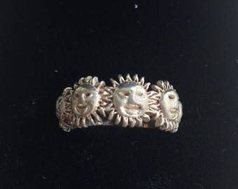 Sterling Silver Band Ring with Smiling Sun Faces Size 6 Estate Jewelry Collectible Ring Seventies
