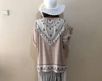 Boho Embroidered Jacket, Plus size ethnic indian jacket, Receycled upcycled clothing, fringe rag coat summer jacket