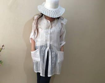 White women's shirt 3/4 Sleeves Tunic Blouse, Womens Cardigan Sheer Top Summer Cardigans for women