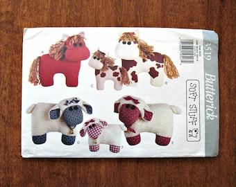 Stuffed Animals Pattern, Vintage Sewing Pattern, Horses Lambs, Butterick Pattern # 3519