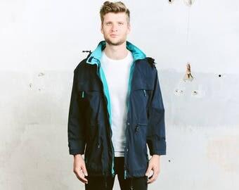 Lightweight Jacket . 90 Spring Jacket Mens Unisex Blue Parka Coat Zip Up Jacket Boyfriend Gift Hipster Jacket Outerwear . size Large