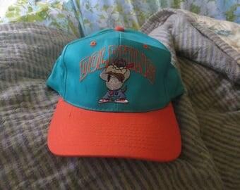 Miami Dolphins Taz Hat 90s Vintage Baseball Cap Looney Tunes Snapback Rare