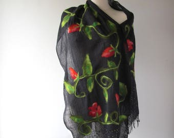 Cotton scarf  Black cotton scarf with roses Rose scarf summer women scarf nuno felted scarf, Red rose flower