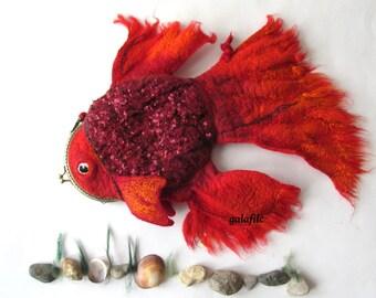 Felt fish purse cosmetic purse felt purse Red Fish fighting fish  nautical fanny packs by Galafilc outdoors gift