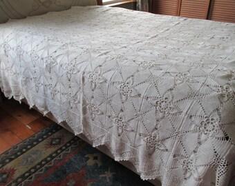Crocheted Bedspread Ecru Handmade 88 x 98 Ruffled Edge
