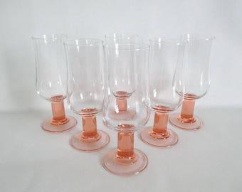 Luminarc France Large Parfait Glasses Pink Stems Set of 6 Stemware