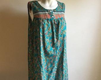 SUMMER SALE Turquoise and Orange Indonesian Batik Tent Dress • Cotton Dress • Batik Dress • Everyday Dress • Free Size