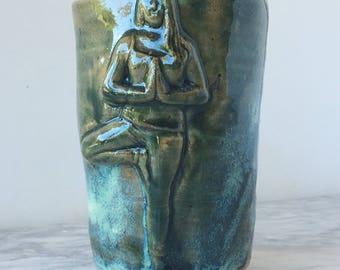Yoga art cup tumbler, tree pose ceramic cup bas relief figure sculpture marbled agateware stoneware pottery vessel
