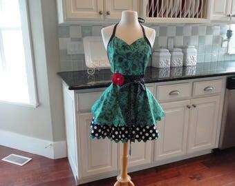 Cucina Cucina in Pretty Turquoise  ~ Sadie Style  ~ Women's Retro Full Apron - ~ 4RetroSisters