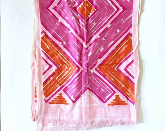 Vintage Vera scarf / Mod 60s Scarf / Pink Purple Orange