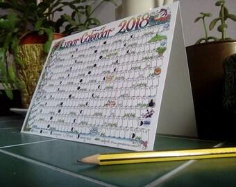 2018 Lunar Moon Desk Calendar Greetings Card Pagan Wicca chart planner year
