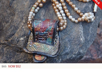 """Polymer Clay Buckle Necklace, Polymer Clay with Wire Lace and Faux Pearl Necklace, """"The Loop"""""""