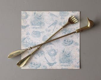 vintage shoe horns - Duck Head- Back Scratcher - brass