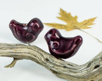 25%OFF Large bird bead Purple Ceramic ultra violet birdie Focal handmade Glazed Greek Beads woodland natural Pendant blueroompottery 25X20mm