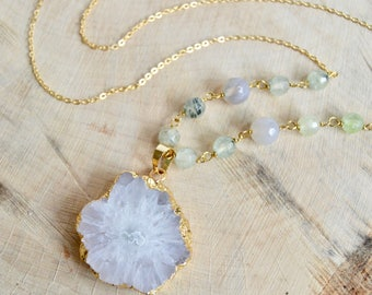 Natural Solar Quartz, Prehnite and Grey Agate Long Necklace