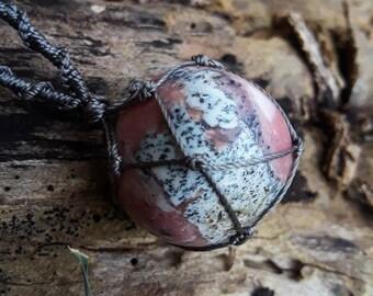 Macrame pink opal necklace, pink opal pendant, macrame necklace, crystal pendant, healing crystal
