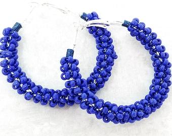 Bright Blue Beaded Hoop Earrings - Royal Blue Earrings -Her Birthday Gifts - Boho Hoop Earrings - Teenage Girls Gifts - Hip Hop Jewelry