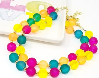 Chunky Rainbow Statement Necklace, Ready to Ship, Double Strand Necklace,  Colorful Necklace, Chunky Bib Necklace, Gifts for Girlfriends