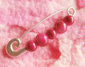 Pink Sweater Pin - Pink Rose Beaded Shawl Brooch - Made in Australia