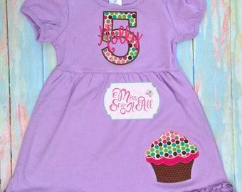 Cupcake Birthday Dress, Girls Birthday Dress, Custom Birthday Dress