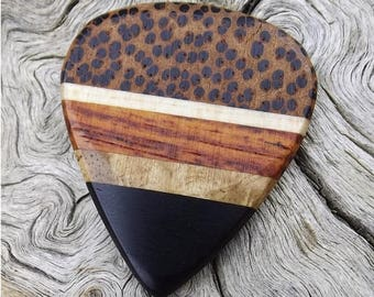 Handmade Multi-Wood Guitar Pick - Premium Quality -  Actual Pick Shown - Artisan Guitar Pick