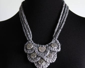 FREE US SHIPPING - Silver Light Gray Color Fiber Crochet Statement Bib Style Necklace with Metal Charms Pendants