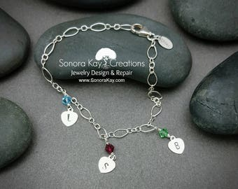 Sterling Silver Bracelet,  Hand Stamped Heart Initial Birthstone  Charm Bracelet,  Custom Made to Order gifts, Personalized Bracelet