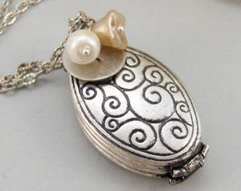 Generations,Locket,Silver Locket,Ivory,Flower,Pearl,Personalize,Antique Locket,Antique,.Jewelry by valleygirldesigns.