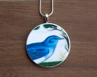 Blue Bird Necklace, Blue Bird Pendant, Vintage Blue Bird, Handcrafted Jewelry, Gift for Bird Lovers, Free Shipping in US