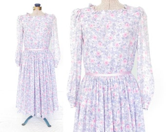 Vintage Dress * Sheer Floral Dress * 80s Dress * Pastoral Beauty Dress * Small
