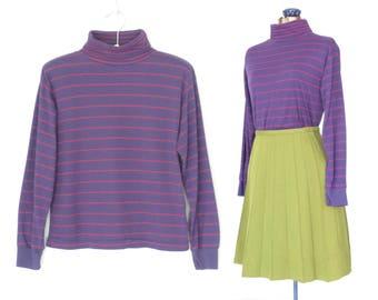 Vintage Turtleneck Shirt * Striped Turtleneck Top * Purple & Pink Stripes  * Large