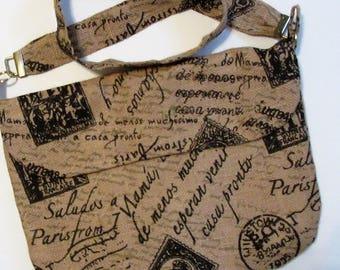 Medium Burlap Purse, French Graphic Purse, Bags and Purses, Handbag, Handmade Purse, Messenger Bag, Boho Purse, Shoulder Bag