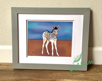 Zebra Wall Hanging - Kids Big Sister, Big Brother or Twins Personalized Gift - Baby Nursery Decor - Baby Shower Gift- Cute Wild Animal