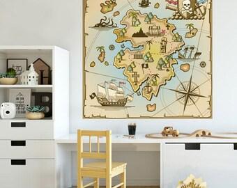 Treasure Map Wall Decal, Treasure Map Wall Sticker, Pirates Treasure Island Map for Kids Room, Playroom Treasure Map Decor, Peel and Stick