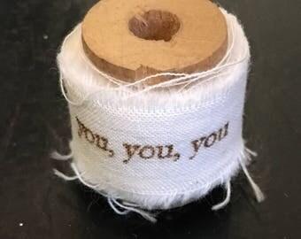 Hand stamped muslin ribbon