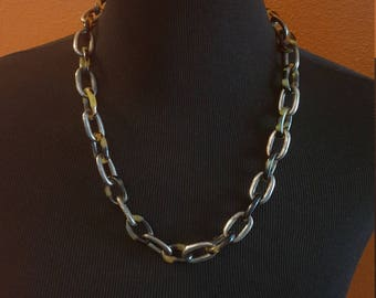 Vintage Silver and Tortoiseshell Chain Link Necklace - possibly Ralph Lauren