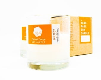 Patchouli Orange Aromatherapy Soy Candle Certified Essential Oil in Whisky Glass with Kraft Copper Stamped Box - Free Domestic Shipping