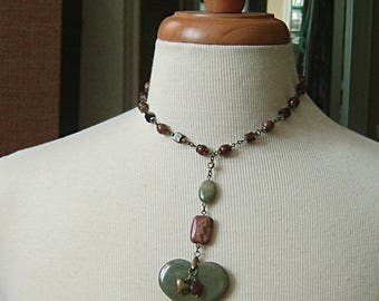 Green Australian Agate Heart Necklace with Red Tiger's Eye and Fancy Jasper Choker on Brass, Green, Red, Brass