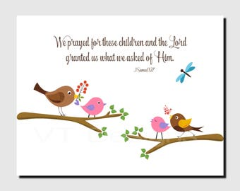 Baptism Gift, Christian Nursery Decor, Baby Girl, Baby Boy Nursery, Pink, Brown, Birds, Twins, Verse, We Prayed for This Child, 8x10 Print